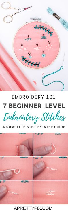 Learn to create 7 beginner level embroidery stitches in this step-by-step tutorial. Start your own embroidery art using only these basic designs. | DIY embroidery | Beginners embroidery | Handcraft tutorial