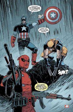 Deadpool No. Deadpool, Captain America, Wolverine Marvel Comics Poster - 30 x 46 cm Marvel Dc Comics, Bd Comics, Marvel Heroes, Comic Books Art, Comic Art, Captain America, Star Trek, Spiderman, Batman