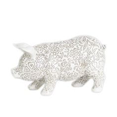 Urban Trends Collection Matte White Resin Standing Pig Figurine (Resin Figurine Matte Finish White)