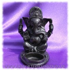 Bougeoir / Porte-encens Ganesh en résine multi-usage. Disponible en boutique