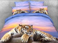 3D Tiger Crouching on a Rock Printed Cotton 4-Piece Bedding Sets/Duvet Covers