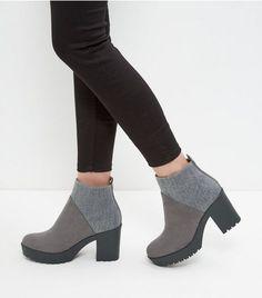 Grey Elastic Back Block Heel Boots  | New Look