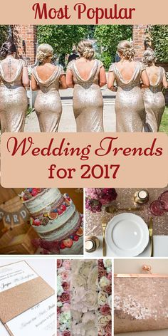 Rose gold and blush wedding ideas are still dominating weddings in 2017. See what else is on trend for brides in 2017...