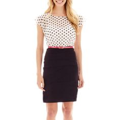 Alyx® Sleeveless Polka Dot-Bodice Bi-Stretch Dress  found at @JCPenney There are just so many opportunities with a foundation piece like this.