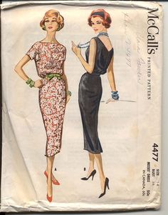 McCalls 4477 1958© Misses One-Piece Dress: Dress with optional sheer or lace overlay. Slim skirt is dart fitted with back hemline pleat, blouson bodice has bateau neckline with low V back. Sleeveless or short kimono sleeves. Self Fabric or contrast tie belt.    This is the original pattern, not a reproduction copy or PDF. Photos are of the actual pattern you will receive. The envelope is lightly tanned, bumped and creased at corners, edges and opening. Ink pen marking on the front. Flap is…