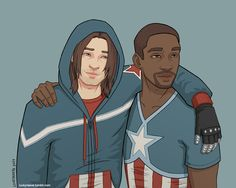 Bucky and Sam - coloured by luckyraeve.deviantart.com on @deviantART