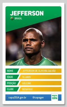 Jefferson  Nome: Jefferson de Oliveira Galvão Data de nascimento: 2 de janeiro de 1983 Local de nascimento: São Vicente (SP) Clube: Botafogo Altura/peso: 1,88m/80kg Posição: goleiro Jogos pela Seleção: 14 Gols pela Seleção: 0.