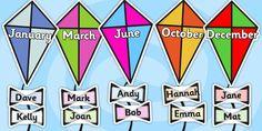 Editable Birthday Kite Display - birthday, birthday display, editable birthday display, classroom display, classroom management, birthday kites, display