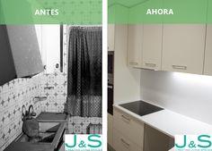 Reforma integral de cocina con Silestone y vitrocerámica. Living Spaces, Renovation, Flats