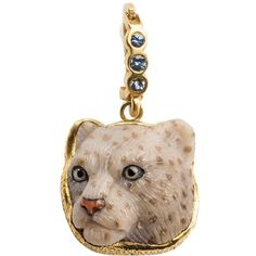 Preowned Snow Leopard Pendant ($3,850) ❤ liked on Polyvore featuring jewelry, pendants, necklace enhancers, white, white jewelry, palm tree jewelry, palm tree pendant, 18k pendant and 18 karat gold jewelry