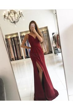 Burgundy Long V-Neck Prom Formal Evening Party Dresses with Slit 3021349