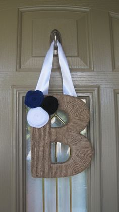 monogram yarn wreath