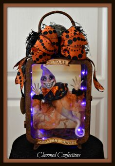 Charmed Confections Ghastly Ghoul Light up Lantern by LeeAnn Kress www,charmedconfections.com https://www.facebook.com/charmedconfectionsfolkart