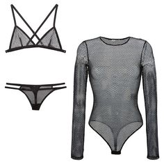 Fleur du mal fishnet triangle bra, $75, fleurdumal.com; Faith Connexion mesh body, $192, farfetch.com; Free people Nothing but Net thong, $20, freepeople.com