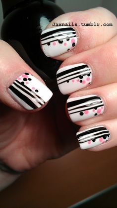 White base with black stripes + pink & black dots nail art design