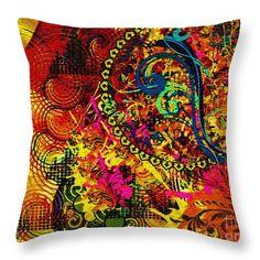 Colorful Throw Pillow featuring the digital art Orange Haze by Caroline Gilmore