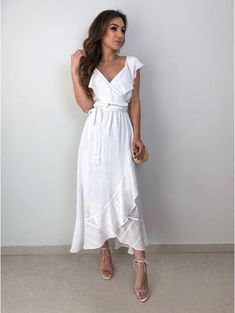 Dress white dress white dress maxi dress midi dress bow ruffle ruffle dress v-neckline . Girls White Dress, White Dress Summer, White Maxi Dresses, Nice Dresses, Casual Dresses, Summer Maxi, Midi Summer Dresses, White Dress Casual, White Holiday Dress
