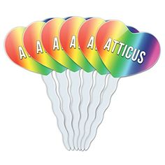Rainbow Heart Love Set of 6 Cupcake Picks Toppers Decoration Names Male Ar-Ay - Atticus