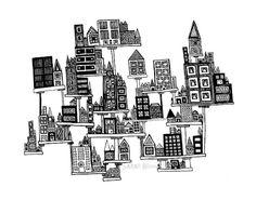 Floating City PRINT of my Original Line Drawing by sometimesiswirl, $25.00