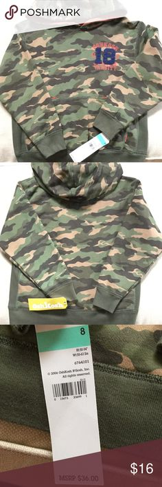 Youth OshKosh Camo Hoodie. OshKosh hoodie. Has soft lining. NWT. Never worn. No holes or stains. New condition!! Has pouch on the front for cold hands and snacks!!!😀 OshKosh Jackets & Coats