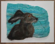 Hare, felted picture, mounted ready to frame by GardenGalleryDerbys on Etsy