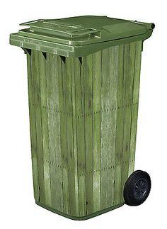 Wheelie-Bin-Vinyl-Wrap-Cover-Panels-Green-wood-design-Stickers-Wheely-x1-Bin
