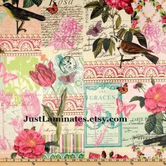 Belle Rose LAMINATED cotton fabric aka oilcloth by Laminates, $16.50