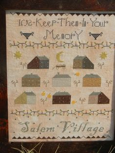 NEW Salem Village sampler PATTERN from by notforgottenfarm on Etsy, $10.00