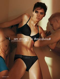 I am strong in #mycalvins. The Spring 2016 Iron Strength Calvin Klein Underwear ad campaign, featuring models Kendall Jenner + Mitchell Slaggert.