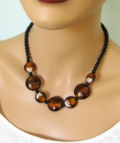 Black Beaded Necklace Brown Beaded Necklace by RalstonOriginals