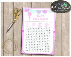 Baby Shower Pattern Baby Rattle Pink Blanket Spelling WORD SEARCH, Party Supplies, Paper Supplies, Printable Files - bsr01 #babyshowergames #babyshower
