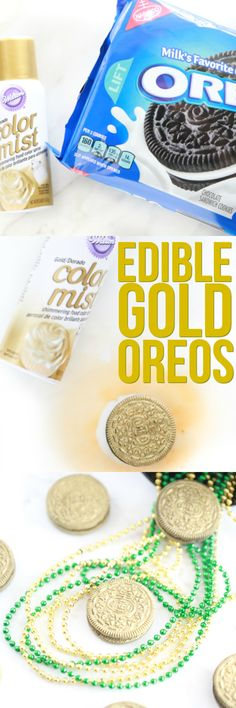 Don't go looking for the end of the rainbow when you can make your own Pot of Gold using these Edible Gold Oreos. They look like gold coins perfect for St. Patrick's Day celebrations or Pirate parties.