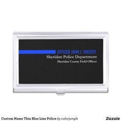 Custom Name Thin Blue Line Police Business Card Holder