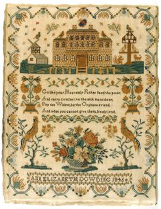An Elizabeth Dowding - England - 1846. Silk on wool; cross stitches. Philadelphia Museum of Art - Collections Object : Sampler