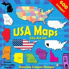 Clip art maps of the USA including maps of individual states: WOW - 600 images!! Color and black and white line art. $