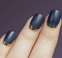 Matte black/Gold lacquer reverse french-manicure