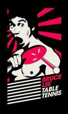 Bruce Lee Table Tennis image. For Table tennis tables, nets, blades, balls, and equipment kits visit http://www.bishopsport.co.uk/table-tennis.html