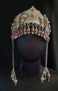 Morocco - Rich ceremonial Berber crown in silver enamel and genuine coral South Morocco Royal Crowns, Tiaras And Crowns, Moroccan Jewelry, Belly Dance Costumes, Tribal Fusion, Ancient Jewelry, Coin Pendant, Tribal Jewelry, Silver Enamel
