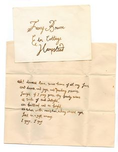 A note from John Keats to his dearest love, Fanny Brawne.   _why do we not talk like this anymore *sigh*