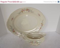 Fall Sale Vintage Homer Laughlin  Eggshell Nautilus Ferndale Large Platter & Gravy Boat Circa 1948-1950 Homer Laughlin, Eggshell, Nautilus, Platter, Gravy, Boat, Fall, Unique Jewelry, Handmade Gifts