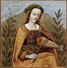 Gorgone musicienne -- Fille des divinités Phorcys et Céto. Elle porte une couronne de feuiillage/fleurs (chapel) répandu au Moyen Âge, et joue de la vièle (Gorgon) -- BnF Français 599 fol.19