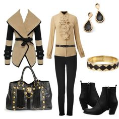 """Beige and Black"" by martha-hill-carter on Polyvore"