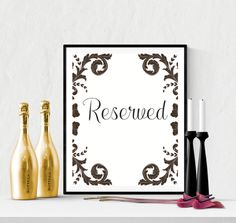 Decorative Reserved Wedding Sign Printable | https://www.vivabop.co.uk/products/decorative-reserved-wedding-sign-printable-black