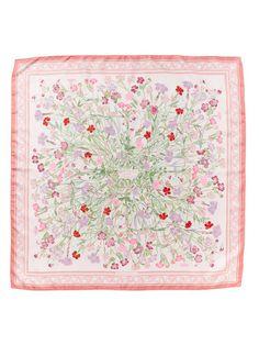 "Hermès ""Oeillets Sauvages et Autres Caryophyllees"" Silk Twill Scarf 90cm"