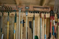 4 Far-Sighted Clever Ideas: Garden Tool Illustration Art garden tool storage tip… - All For Garden Garage Tool Storage, Shed Storage, Storage Rack, Smart Storage, Diy Storage Table, Storage Ideas, Kitchen Storage, Storage Solutions, Garden Tool Organization
