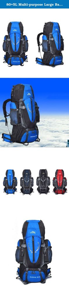 80+5L Multi-purpose Large Backpack Waterproof Bag Climbing Backpacks for Outdoor Hiking Camping Skiing Travelling,Blue. Feature: It is a wonderful bag that will surely make your outdoor experience fantastic Crafted from waterproof Oxford spinning, very durable Features spacious main compartment and numerous pouches with large capacity. Ergonomic padded and adjustable straps Suspended mesh back support for best ventilation and easing burden Product Specifications: Item type: Backpack Size:...