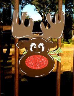 Christmas Door Hanger Reindeer Christmas Door by MemoryMakerStudio