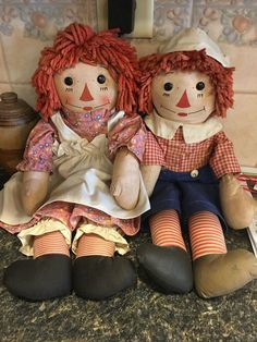 Georgene Raggedy Ann And Andy Dolls 19 Inches, All Original Old Dolls, Antique Dolls, Xmas Movies, Ann Doll, Raggedy Ann And Andy, Sewing Dolls, Doll Hair, Vintage Toys, Childhood Memories