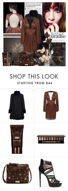 """Chocolate"" by amethystes ❤ liked on Polyvore featuring Emporio Armani, Maria Lucia Hohan, Clarins, Nine West, Alaïa, Bobbi Brown Cosmetics and browndress"
