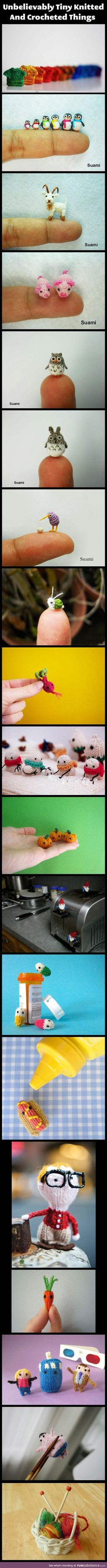 Tiny knitted and crocheted creatures